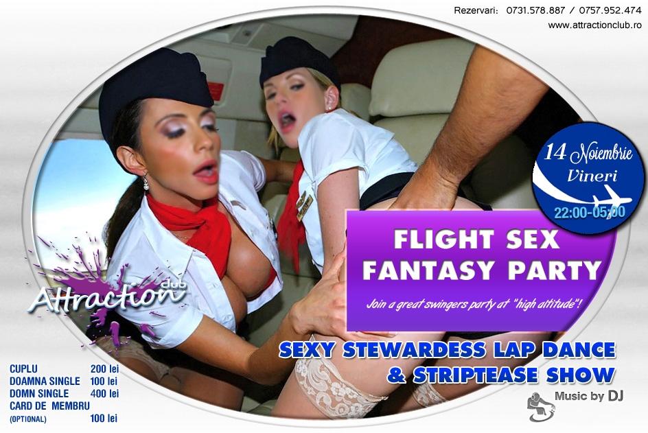 Vino să simți cât e de sexy să călătorești cu avionul și să întâlnești în carne și oase o stewardeză super sexy care îți va îndeplini fantezia de a o vedea și dezbrăcată, nu doar în uniformă, într-un show erotic  incendiar! Rezervă-ți rapid un loc la petrecerea de sâmbătă seara.  Va fi un zbor de neuitat alături de echipajul Attraction Club!